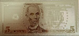 One-US-5-Banknote-USD-24k-Gold-Foil-Plated-Paper-Money-Dollar-Bill-A