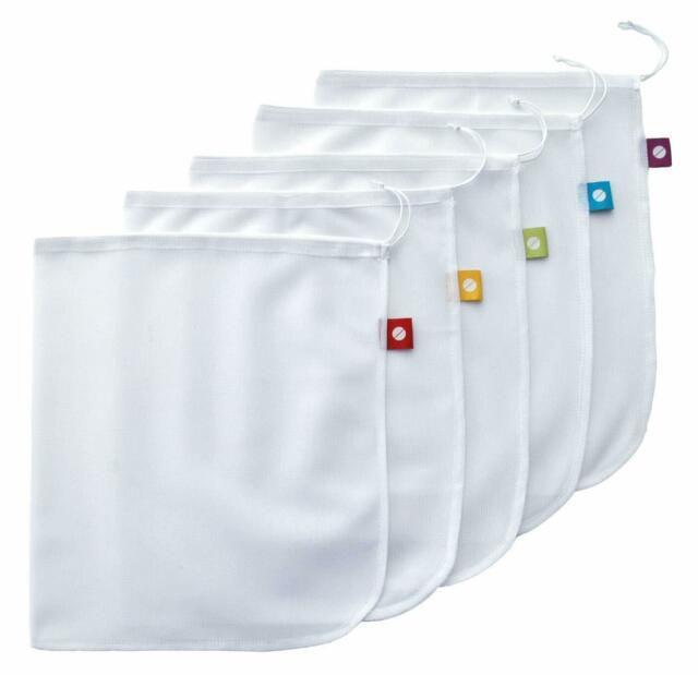 Flip & Tumble Set of 5 Reusable Produce Bags, White