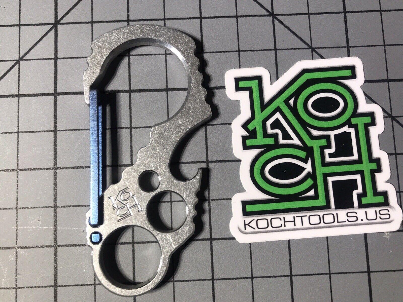 Koch herramientas Klasp Mosquetón de aluminio de tamaño completo (lavado a la Piedra con Puerta Azul)