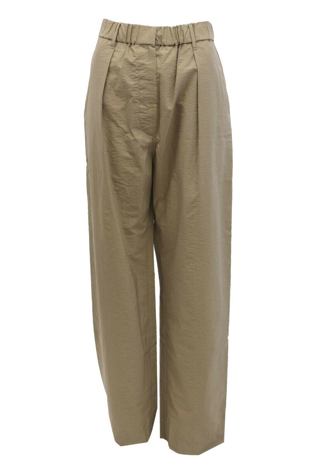 NWT 1225 Brunello Cucinelli damen Lightweight Cotton Wide-Leg Khakis42 6US A186