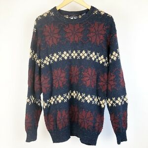 Woods-amp-Gray-Mens-Sweater-Size-Large-Vintage-Blue-Red-White-Long-Sleeve