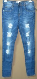 F31-New-39-95-ZARA-Super-Stretch-Skinny-Tattered-Jeans-Denim-Pants-Size-32-33