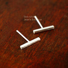 925 Sterling Silver Thin Straight Bar Post Stud Earrings 1.4x10mm A1639