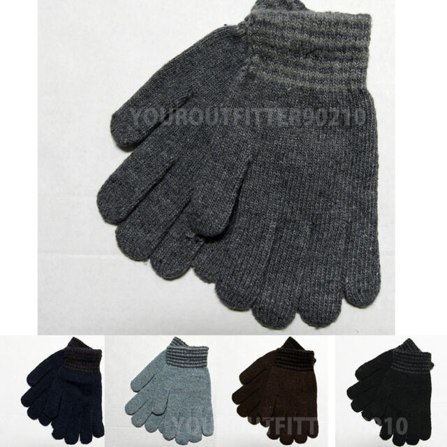 Casual Knit/Wool Winter Gloves Fashion Solid/Striped Black New One Size Fit Most