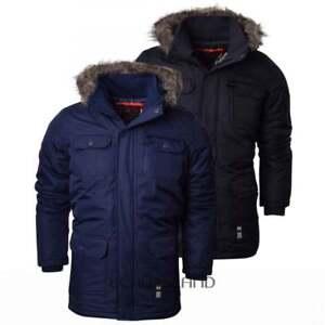 Fina-para-hombre-Heave-Weight-de-Piel-Capucha-Parka-Acolchada-Impermeable-Abrigo-de-invierno
