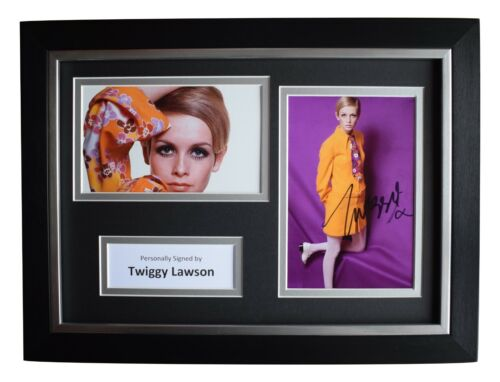 Twiggy Lawson SIGNED A4 FRAMED Autograph Photo Display 60s Model Film AFTAL COA