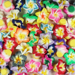 100pcs 15mm Mixed Polymer Fimo Clay 5-leaves Flower Spacer Loose Beads,