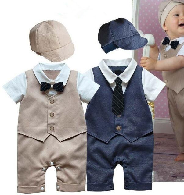 2pcs Baby Boy Newborn Toddler Kid Gentleman Hat+Romper Jumpsuit Clothes Outfit