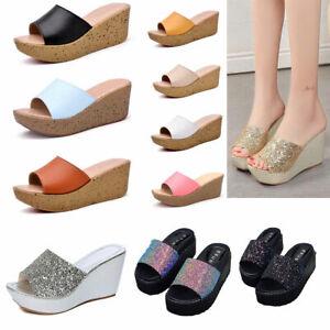 NEW-Women-039-s-Bling-Platform-Slipper-Shoes-Peep-Toe-Wedge-High-Heels-Sandals-US5-8