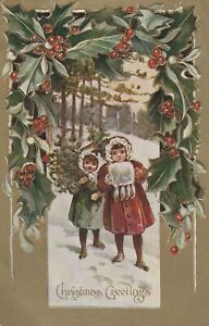 Vintage-Postcard-Christmas-Children-Carry-Tree-in-Snow-1909-Embossed-Gold-Border