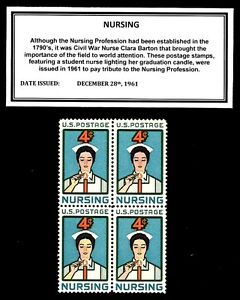 1961-NURSING-Vintage-Block-of-Four-Mint-U-S-Postage-Stamps