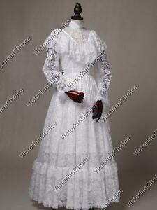 Victorian-Edwardian-Titanic-Vintage-White-Lace-Wedding-Dress-Bridal-Gown-392