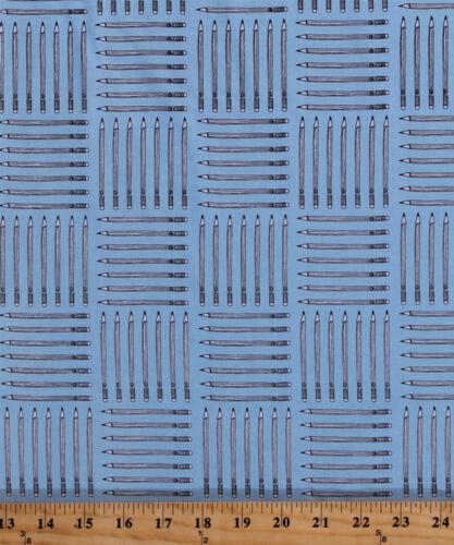 Pencils Writing Utensils Art Supplies Blue Cotton Fabric Print BTY D690.49