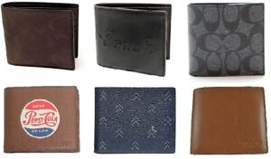 Coach Mens 3 In 1 Signature PVC / Leather Compact Id Wallet Multiple Colors