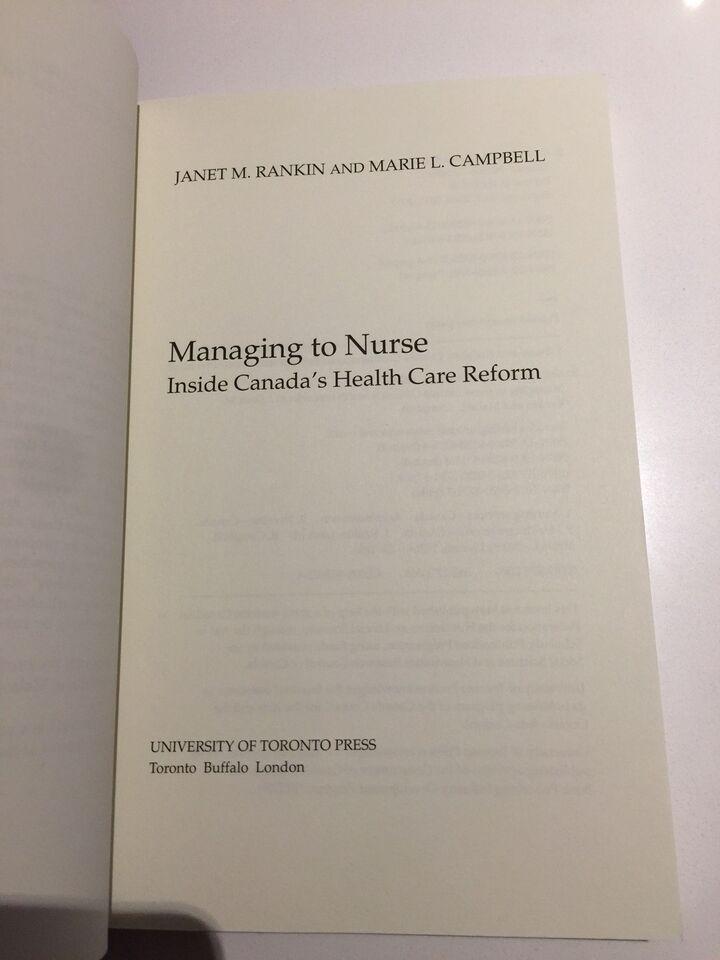 Managing to nurse, Janet M. Ranken og Marie L. Campbell ,