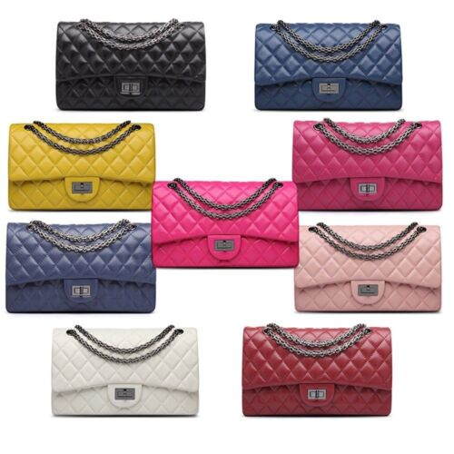 Korea Lambskin Handbag Genuine Sheepskin Leather Women Quilted Purse Bag AU