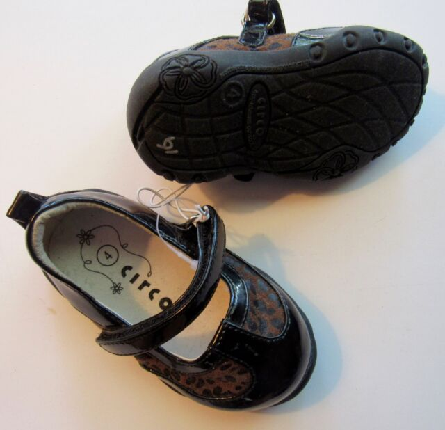 Nw0t Infant Girls Black Patent Leopard Circo Shoes Size 4 Ebay
