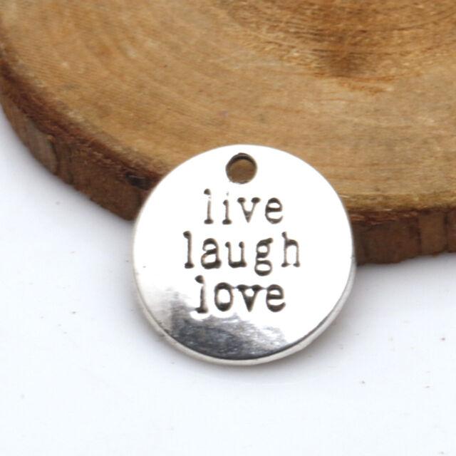 Wholesale New 5 Pcs Tibetan Silver Round Live Laugh Love Charms Pendants TA2201