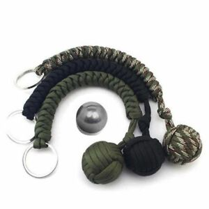 Singe-poing-paracord-chaines-porte-cles-550-aciers-militaires-survie-balle-noir