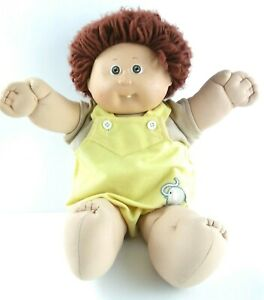 Vintage-1985-Coleco-CABBAGE-PATCH-Boy-Doll-Dimples-Tooth-Brown-Hair-Eyes-Jumper