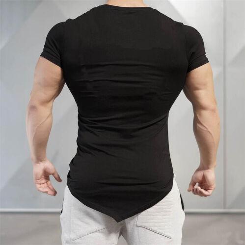 Men Fitness Cotton Superman Irregular Short Sleeves T Shirts Sport Gym Clothes