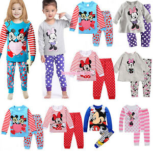 2Pcs-Kids-Girls-Boy-Outfits-Mickey-Minnie-Nightwear-Clothing-Casual-Pajamas-Sets