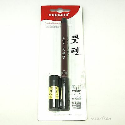 Monami Calligraphy Brush Pen with 1 refill Ink cartridge Korean Chinese Japanese