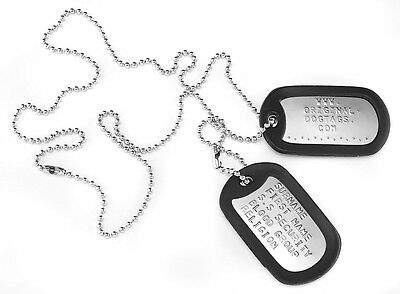 "MILITARY DOG TAGS Army DogTags Shiny 2 x CHAINS 26"" & 4.5"" PERSONALISED FREE !"