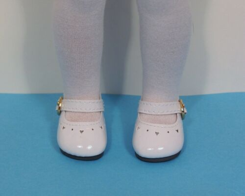 """Debs WHITE Patent Heart Doll Shoes For 14/"""" American Girl Wellie Wisher Wishers"""