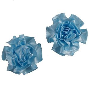 2-x-BABY-BLUE-Satin-Ribbon-Ruffle-Roses-Rosettes-4cm-Card-Making-Craft-Sewing