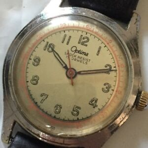 Vintage-Optima-Army-Watch-17J-Working-Mechanical-Manual-Hand-Wind-Watch