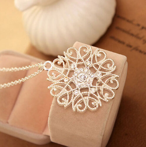 Women Charm Hollow Flower Crystal Round Pendant Long Sweater Chain Necklace Boho