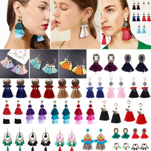 Fashion-Women-Bohemian-Long-Tassel-Fringe-Boho-Ear-Stud-Dangle-Earrings-Jewelry