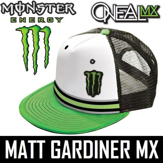 MONSTER ENERGY ONEAL TRUCKER CAP hat DIETRICH motocross White Green snap  back 0404b6ce329