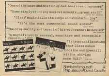 12/11/83PN54 ADVERT: PHILIP GLASS ALBUMS THE PHOTOGRAPHER & GLASSWORKS