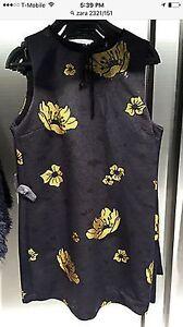 Zara-Black-Floral-Yellow-Printed-Straight-Cut-Dress-Size-XS-XSmall-Ref-2321-151