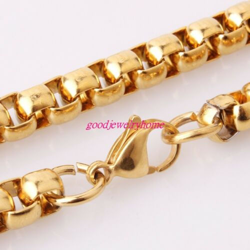 """2//3//4//5//7MM Gold Plated Stainless Steel Rolo Box Chains Necklace Bangle 7/""""-40/"""""""