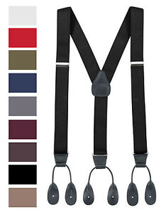 Men's Elastic Y-back Adjustable Button End Suspenders ( 2 Sizes 9 Colors)