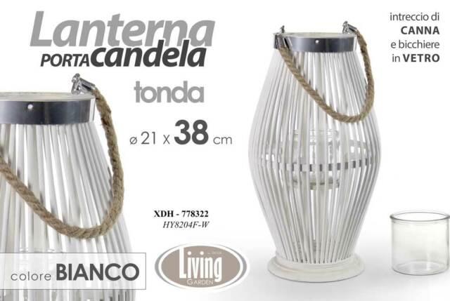 LANTERNA PORTA CANDELA STRUTTURA IN LEGNO BIANCO 21*38 CM GARDEN XDH-778322