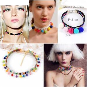 boho ethnic pom pom tassel necklace festival summer bib plunge necklace