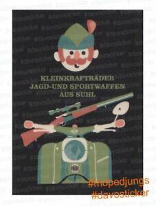 Sticker-Simson-Kleinkraftraeder-Jagd-und-Sportwaffen-aus-Suhl-Schwalbe-Aufkleber
