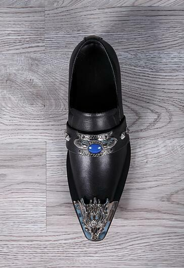 Uomo Stylish Pelle Dragon Rhinestone Slip On Oxford Formal Dress Shoes