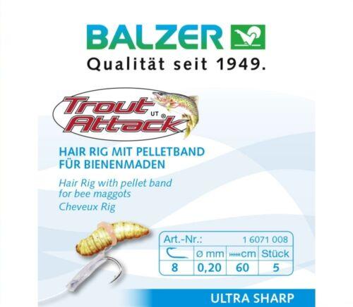 Forellenhaken Angelhaken Balzer Trout Attack Bienenmaden Hair Rig 60cm