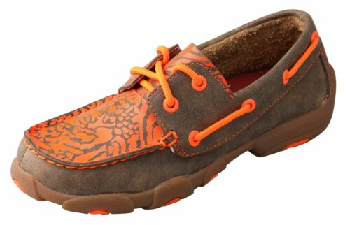 Twisted X Childrens YDM0008 Cowkids Leather Moccasin Brown Orange Size 11 US
