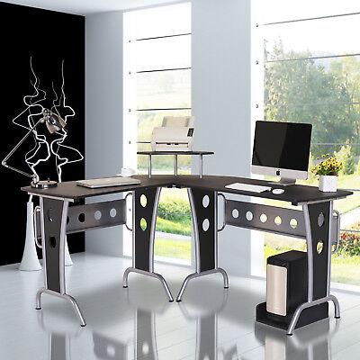 "65"" L-Shape Computer Desk Corner Table Space Saving Home Office Wood Black"