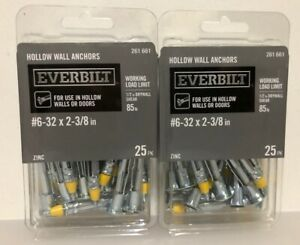200 Pc #6-32 x 2-3//8 in Zinc-Plated Steel Hollow Wall Anchors