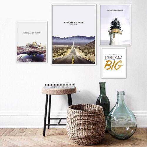 Scandinavian Road Tower Landscape Poster Motivation Nordic Print Home Decor