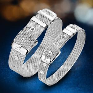 Fashion-925-Silver-Plated-Charm-Bangle-Cuff-Bracelet-Men-Women-Jewelry-Wristband