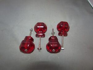 """1 1.25/"""" Hexagon Hex Pink Peach Glass Cabinet Door Knob 1/"""""""