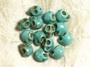 Perles Crâne Tête de Mort Turquoise Synthèse reconstituée 8mm Blanc 15pc 874